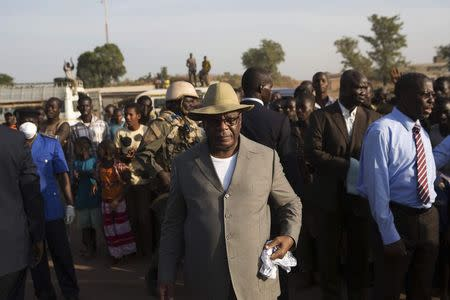 Mali's President Ibrahim Boubacar Keita checks on measures preventing the spread of Ebola in Kouremale