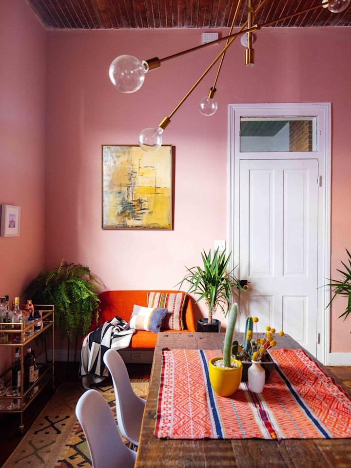 "<p>Pink doesn't have to look like a bottle of Pepto-Bismol exploded in your room. Choose a coral shade with cooler undertones.</p><p>See more at <a rel=""nofollow"" href=""http://www.oldbrandnew.com/blog/2017/12/my-crazy-colorful-new-orleans-home-tour"">Old Brand New</a>.</p><p><a rel=""nofollow"" href=""https://www.homedepot.com/p/Glidden-Essentials-1-gal-HDGR58-Bay-Coral-Flat-Interior-Paint-HDGR58E-01FN/206902715"">BUY NOW</a> <em><strong>Coral Paint, $15, homedepot.com</strong></em></p>"