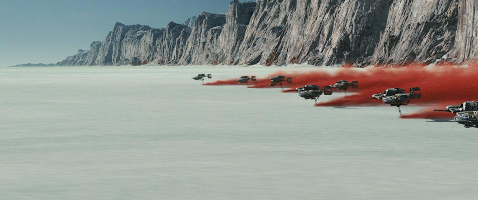 The Battle of Crait in <em>Star Wars: The Last Jedi </em>(Photo: Lucasfilm)