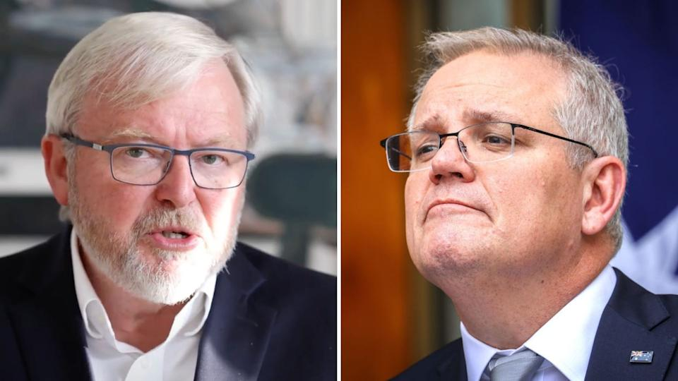 Pictured: Kevin Rudd, Scott Morrison. Images: Yahoo Finance, Getty