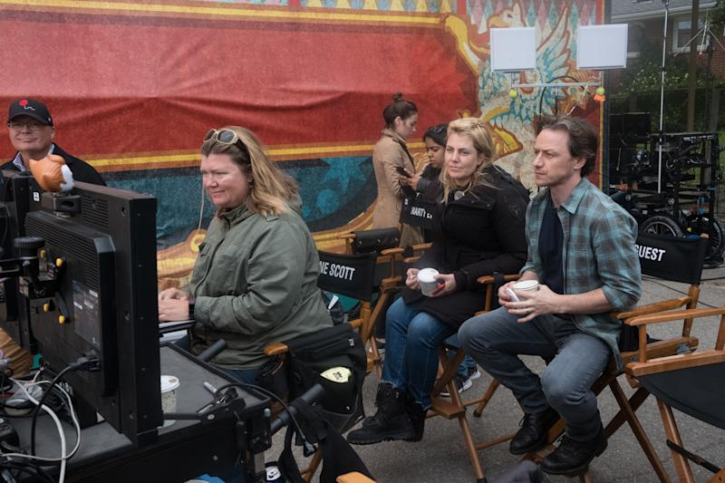 "(Center left-r) Producer BARBARA MUSCHIETTI and JAMES McAVOY on the set of New Line Cinema's horror thriller ""IT CHAPTER TWO,"" a Warner Bros. Pictures release."