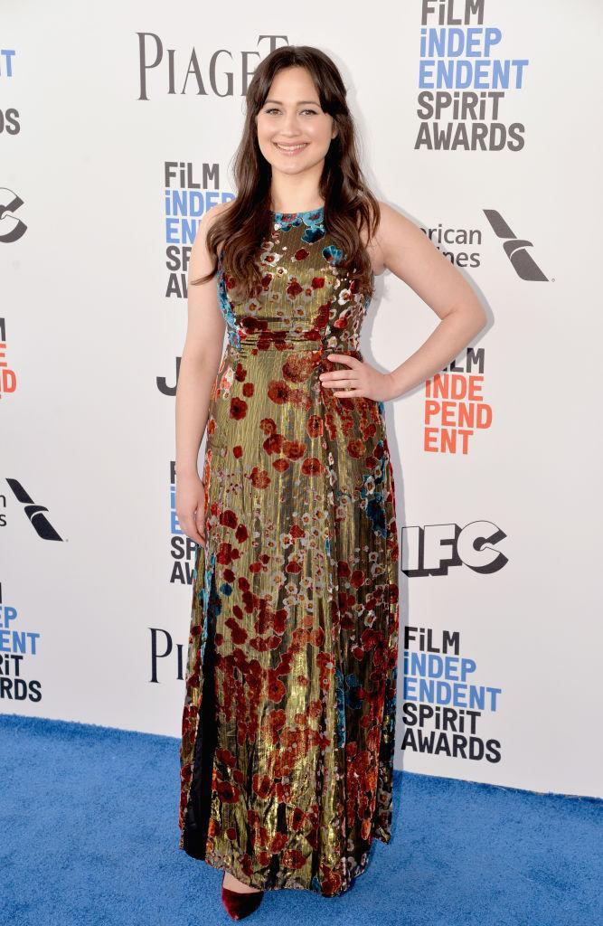<p>Lily Gladstone in Adrianna Papell (Photo: Getty Images) </p>