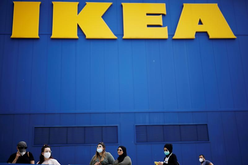 Customers wait outside an IKEA shop after the coronavirus disease (COVID-19) lockdown has been eased around the country and the company opens some of its stores, in Netanya, Israel April 23, 2020. REUTERS/ Amir Cohen