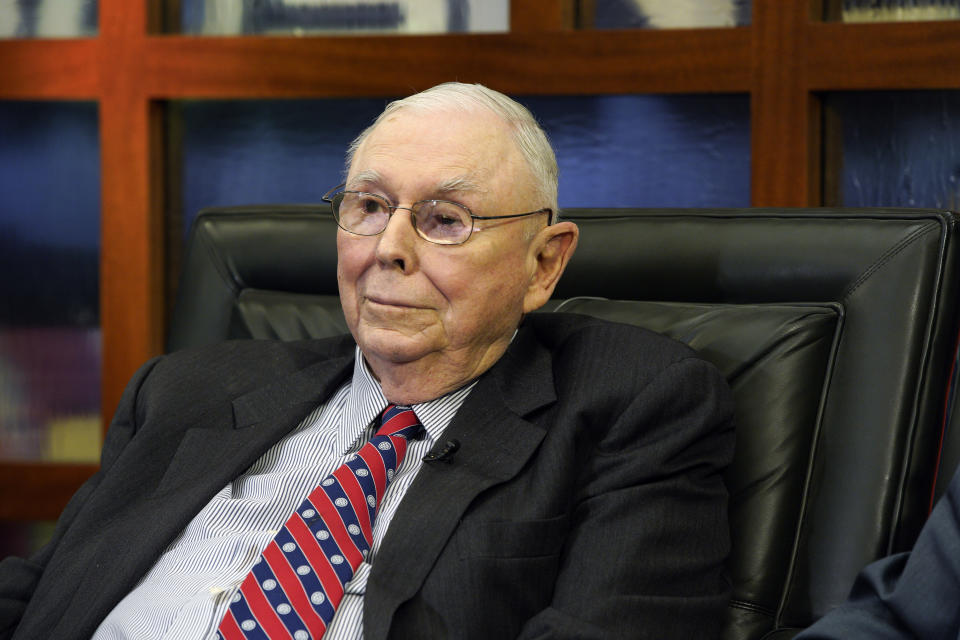 Berkshire Hathaway Vice Chairman Charlie Munger listens to a question during an interview in Omaha, Neb., Monday, May 7, 2018, with Liz Claman on Fox Business Network's
