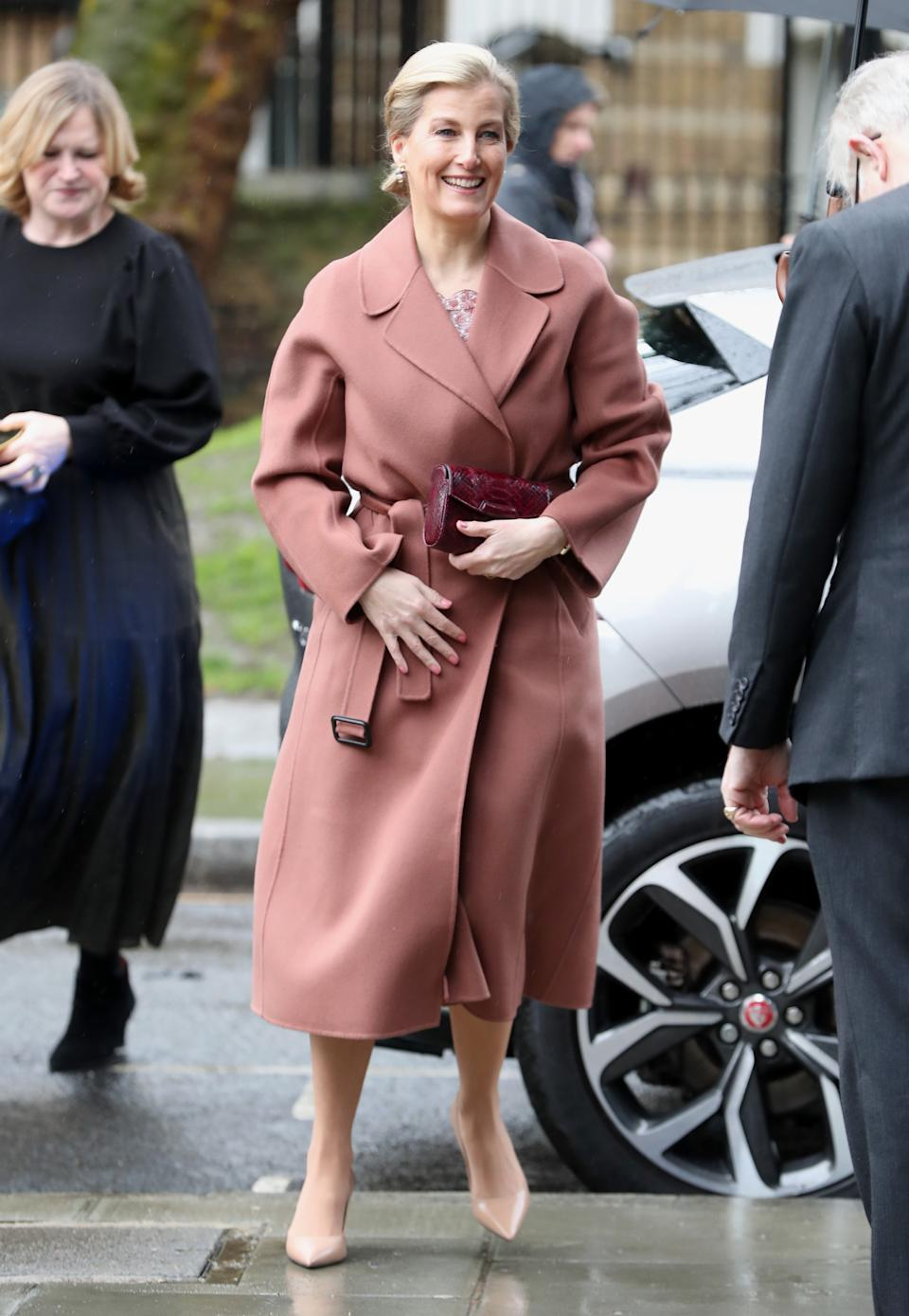 Sophie, Countess of Wessex, co-ordinated her entire blush ensemble as she opened the Central School of Ballet's new premises. (Getty)