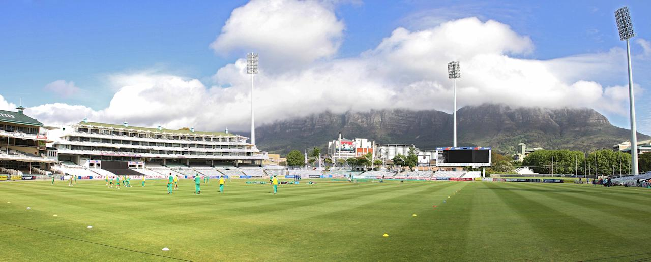 A  panoramic view of Newlands grounds during the South African national cricket team training session at Sahara Park Newlands on October 11, 2011 in Cape Town, South Africa (Photo by Ashley Vlotman/Gallo Images/Getty Images)