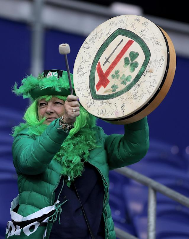 HARRISON, NJ - MARCH 12: A London Irish fan beats her drum during the match against Saracens during the Aviva Premiership match on March 12, 2016 at Red Bull Arena in Harrison, New Jersey. (Photo by Elsa/Getty Images)