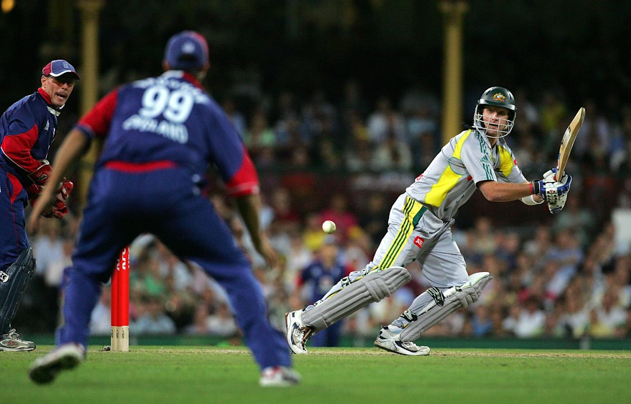 SYDNEY, AUSTRALIA - JANUARY 09:  Cameron White of Australia bats during the Twenty20 International match between Australia and England at the Sydney Cricket Ground on January 9, 2007 in Sydney, Australia.  (Photo by Clive Rose/Getty Images)