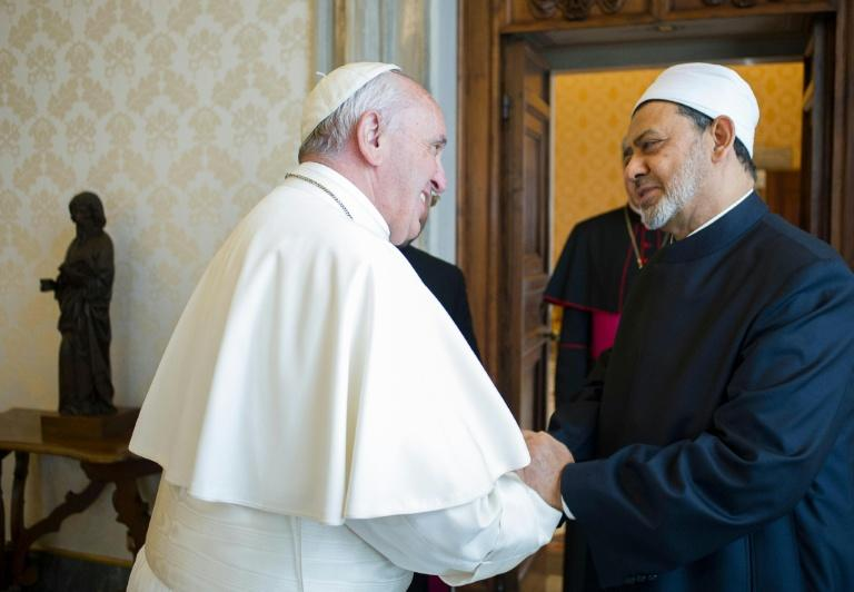 Pope Francis welcomes Egyptian Grand Imam of al-Azhar Mosque Sheikh Ahmed Mohamed al-Tayeb, during a private audience at the Vatican