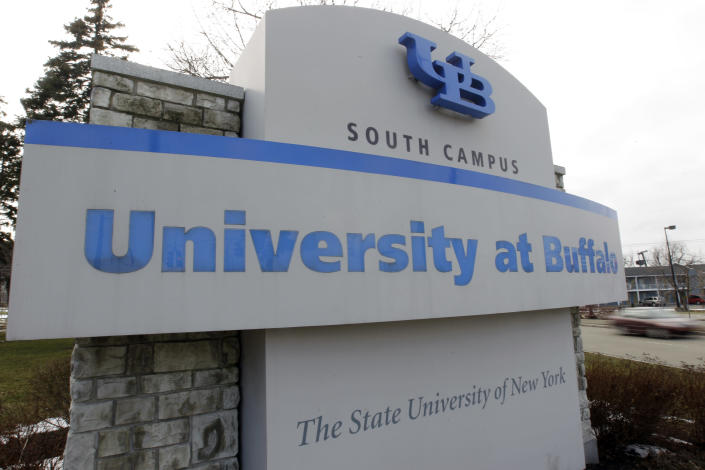 This Wednesday, Feb. 15, 2012 photo shows a University at Buffalo sign on the campus in Buffalo, N.Y. The New York Police Department monitored Muslim college students far more broadly than previously known, at schools far beyond the city limits, including the University at Buffalo, the Ivy League colleges of Yale and the University of Pennsylvania, The Associated Press has learned. (AP Photo/David Duprey)