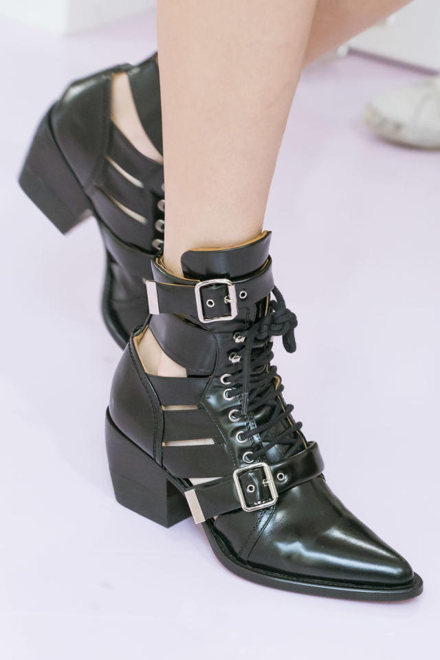 <p><i>Black leather boots from the SS18 Chloé collection. (Photo: ImaxTree) </i></p>