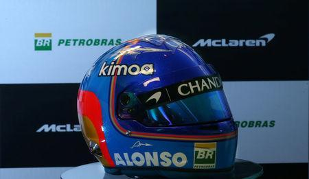 The new helmet of McLaren Formula One driver Spain's Fernando Alonso, with the logo of Petrobras, is pictured during a media conference in Sao Paulo, Brazil February 20, 2018. REUTERS/Paulo Whitaker