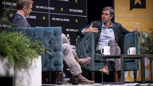 PHOTO: Democratic presidential candidate and former Rep. Beto O'Rourke speaks with Garrett Haake of MSNBC during a panel at The Texas Tribune Festival on Sept. 28, 2019 in Austin, Texas. (Sergio Flores/Getty Images)