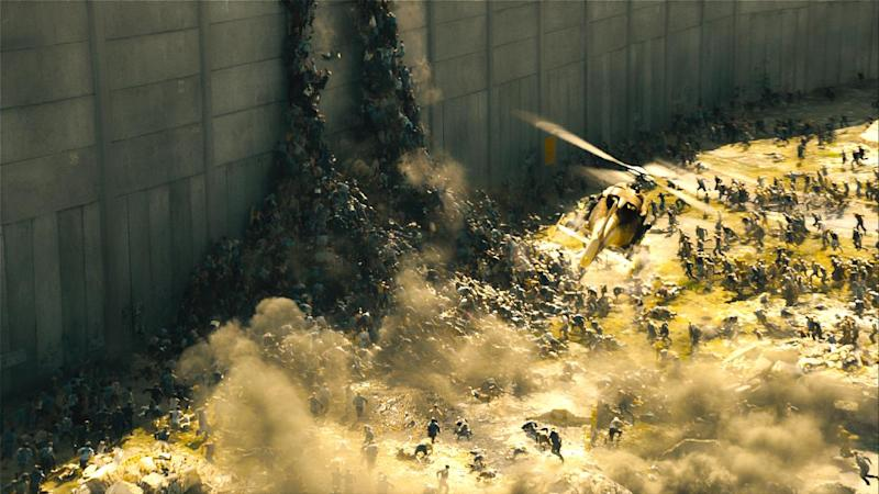 """This publicity image released by Paramount Pictures shows a scene from """"World War Z."""" In a small-scale marketing experiment, for $50, some fans got to see Brad Pitt's hotly anticipated zombie thriller """"World War Z"""" before all their friends. They also got 3D glasses to keep, popcorn, a poster, and a promised copy of the DVD when it comes out. (AP Photo/Paramount Pictures)"""