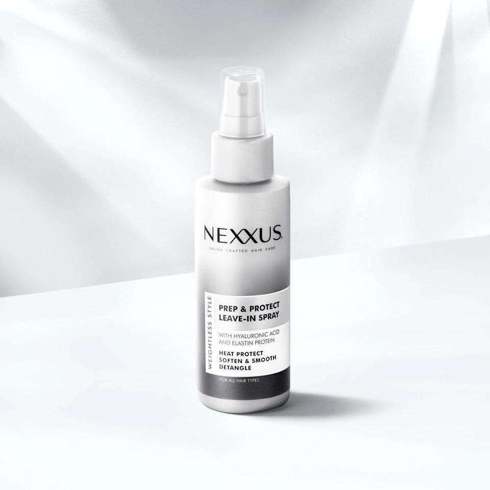 """Refresh and prep your curls at the same time with this Nexxus Prep and Protect Leave-In Spray. The formula comes loaded with ingredients like elastin protein and <a href=""""https://www.allure.com/story/what-is-hyaluronic-acid-skin-care?mbid=synd_yahoo_rss"""" rel=""""nofollow noopener"""" target=""""_blank"""" data-ylk=""""slk:hyaluronic acid"""" class=""""link rapid-noclick-resp"""">hyaluronic acid</a>, which help preserve your hair's natural proteins, shield hair from heat damage, as well as soften, smooth, and detangle hair."""