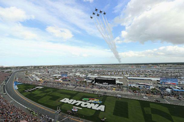 PHOTO: The Air Force Thunderbirds perform a flyover prior to the NASCAR Cup Series 62nd Annual Daytona 500 at Daytona International Speedway, Feb. 16, 2020 in Daytona Beach, Fla. (Mike Ehrmann/Getty Images)