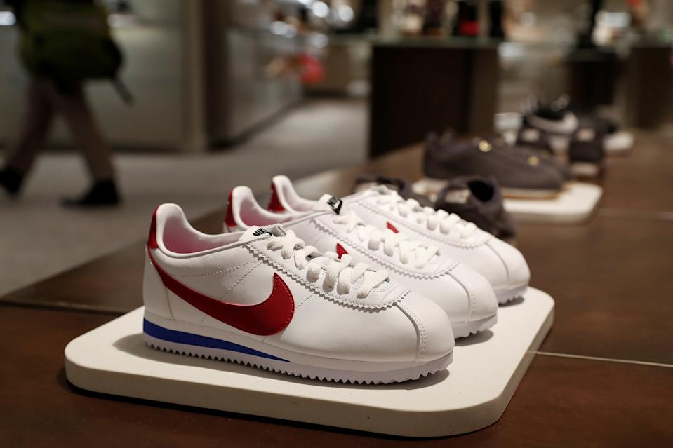 Nike shoes are seen on display at the Nordstrom flagship store during a media preview in New York, U.S., October 21, 2019. REUTERS/Shannon Stapleton