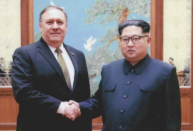North Korean leader Kim Jong Un (R) met with US Secretary of State Mike Pompeo in Pyongyang for the first time over Easter weekend (AFP Photo/HO)