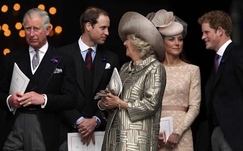 LONDON, ENGLAND - JUNE 05: (L-R) Prince Charles, Prince of Wales, Prince William, Duke of Cambridge, Camilla, Duchess of Cornwall, Catherine, Duchess of Cambridge and Prince Harry leave a Service Of Thanksgiving at St Paul's Cathedral on June 5, 2012 in London, England. For only the second time in its history the UK celebrates the Diamond Jubilee of a monarch. Her Majesty Queen Elizabeth II celebrates the 60th anniversary of her ascension to the throne. Thousands of wellwishers from around the world have flocked to London to witness the spectacle of the weekend's celebrations. (Photo by Matt Cardy/Getty Images)