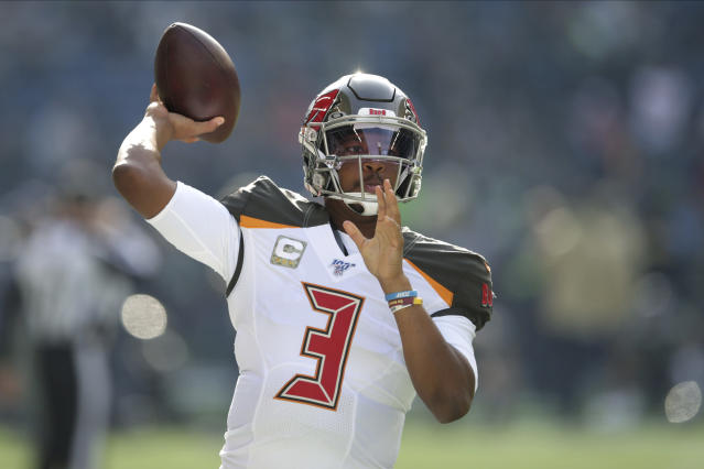 Tampa Bay Buccaneers quarterback Jameis Winston passes during warmups before an NFL football game against the Seattle Seahawks, Sunday, Nov. 3, 2019, in Seattle. (AP Photo/Scott Eklund)