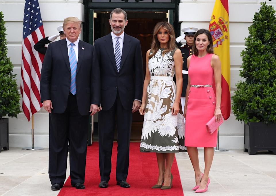 """President and Melania Trump hosted <span class=""""s2"""">King Felipe VI and Queen Letizia of Spain. </span>(Photo: Reuters/Jonathan Ernst)"""