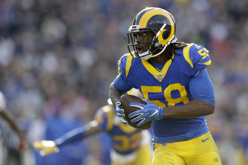 Former Los Angeles Rams inside linebacker Cory Littleton has agreed to a deal with the Raiders. (AP Photo/Marcio Jose Sanchez)