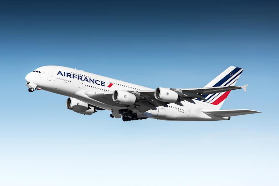 San Francisco, California, USA - April 13, 2015: Air France Airbus A380 departing San Francisco International Airport.