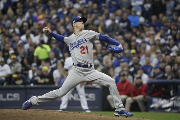 Walker Buehler pitches in the first inning for the Dodgers against the Brewers in the 2018 playoffs.