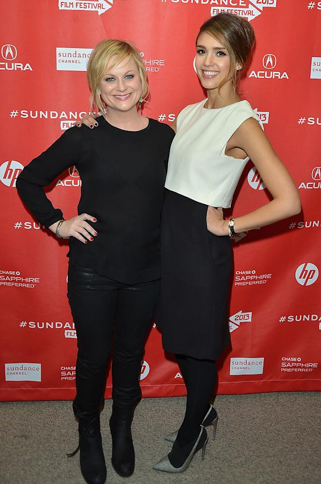 """PARK CITY, UT - JANUARY 23:  Actors Amy Poehler and Jessica Alba attend the """"A.C.O.D"""" Premiere during the 2013 Sundance Film Festival at Eccles Center Theatre on January 23, 2013 in Park City, Utah.  (Photo by George Pimentel/Getty Images)"""