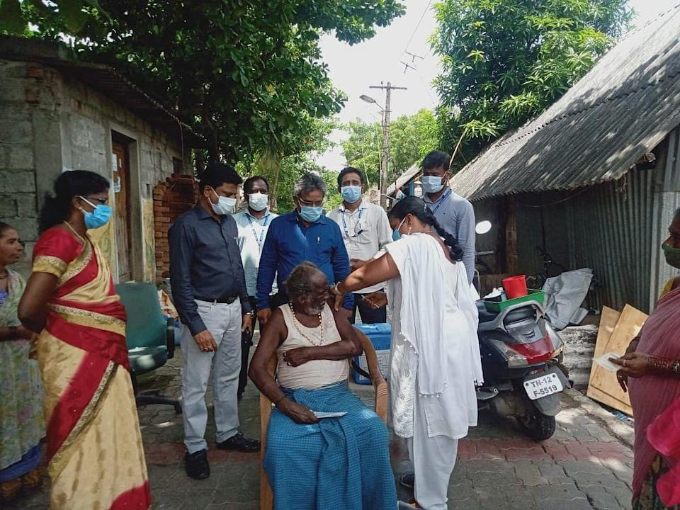 """<div class=""""paragraphs""""><p>On 24 June, Collector of Tiruvallur sent a team to conduct a vaccination drive in the hamlet.</p></div>"""