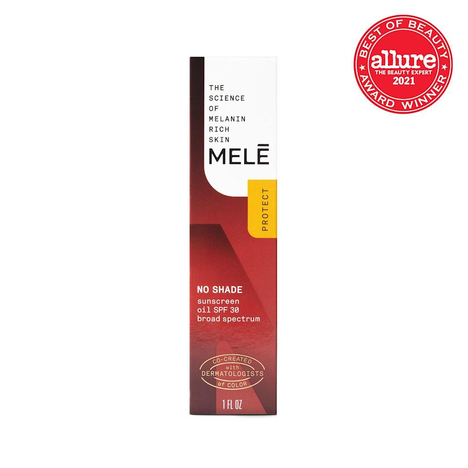 """Formulated for and by people with <a href=""""https://www.allure.com/story/mele-skin-care-review?mbid=synd_yahoo_rss"""" rel=""""nofollow noopener"""" target=""""_blank"""" data-ylk=""""slk:melanin-rich skin"""" class=""""link rapid-noclick-resp"""">melanin-rich skin</a>, <strong>Melé No Shade Sunscreen Oil</strong><br> <strong>SPF 30</strong> is a translucent serum that provides a sheer veil of coverage."""