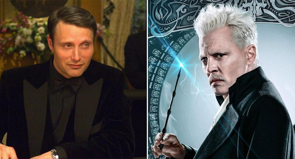 Composite image showing Mads Mikkelsen in Casino Royale and Johnny Depp in a Fantastic Beasts poster. (Sony Pictures/Warner Bros.)