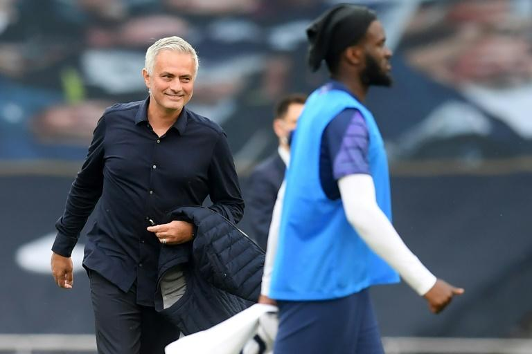 Tottenham manager Jose Mourinho celebrates his side's win against Arsenal