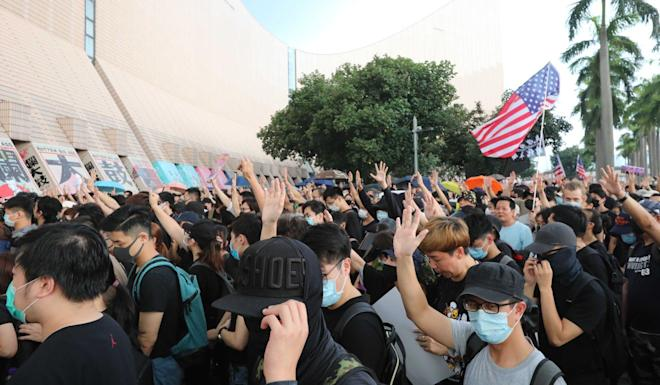 Protesters gather in Tsim Sha Tsui ahead of their march to Sham Shui Po. Photo: SCMP