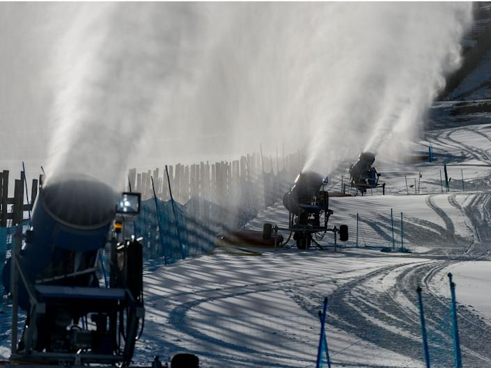 Snow cannons on El Colorado in the Andes Mountains in Chile