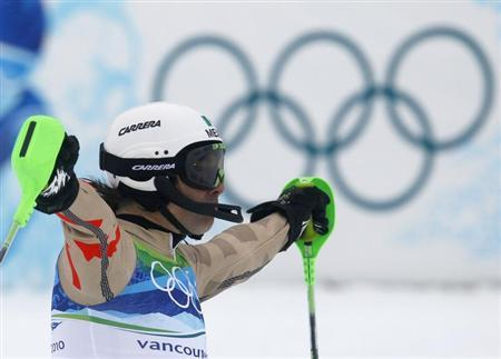 Mexico's Von Hohenlohe reacts after competing during the first run of the men's alpine skiing slalom event at the Vancouver 2010 Winter Olympics in Whistler
