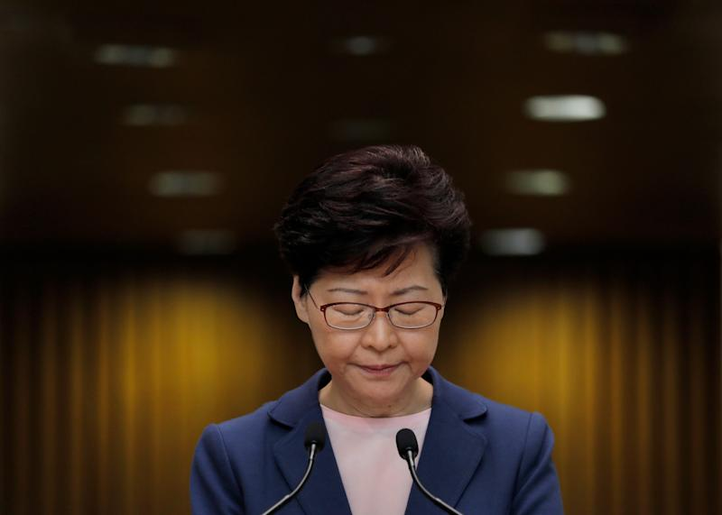 Hong Kong Chief Executive Carrie Lam pauses during a press conference in Hong Kong, Tuesday, July 9, 2019. Lam said Tuesday the effort to amend an extradition bill was dead, but it wasn't clear if the legislation was being withdrawn as protesters have demanded.