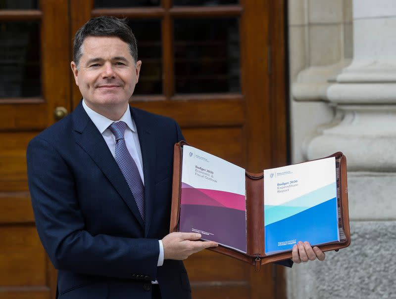 FILE PHOTO: Irish Finance Minister Paschal Donohoe presents Budget 2020 at Government Buildings in Dublin