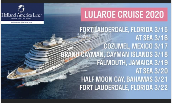 LuLaRoe Cruise 2020 planned itinerary. (Screenshot obtained and verified by Cashay.)