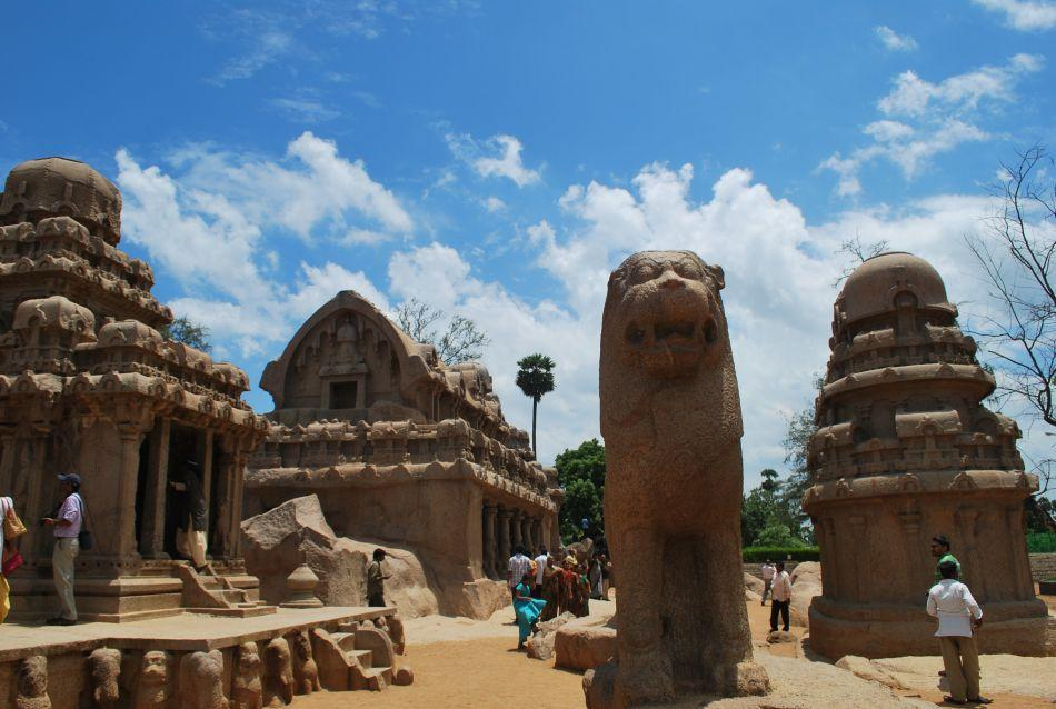 <b>The Five Rathas </b><br>The five monoliths are a tribute to the Pandavas of the Mahabharatha. The Pallavas built five Rathas or chariots for Dharmaraja (Yudhishtira), Bheema, Arjuna, Sahadeva-Nakula and Draupadi. The monolithic temples are known locally as Rathas, as they resemble the processional chariots of a temple. They were carved out of a single rock and some of them are three-storied (like the Dharamaraja Ratha) and single-storied (like the Draupadi Ratha).