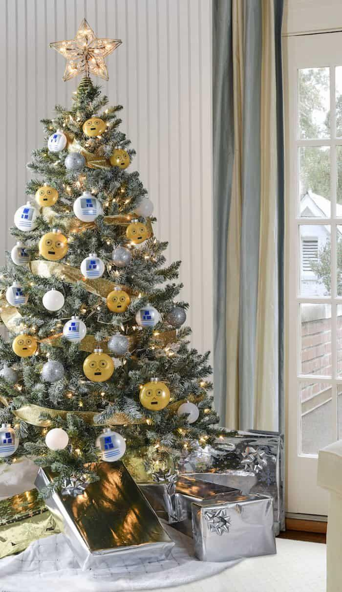 """<p>Bring your favorite movie series to life with this gorgeous tree. Even non-<em>Star Wars</em> fans will appreciate its festive colors and themed ornaments that make for a unique Christmas tree. </p><p><strong><em>Get the tutorial at <a href=""""https://diycandy.com/star-wars-christmas-tree/"""" rel=""""nofollow noopener"""" target=""""_blank"""" data-ylk=""""slk:DIY Candy"""" class=""""link rapid-noclick-resp"""">DIY Candy</a>.</em></strong></p><p><a class=""""link rapid-noclick-resp"""" href=""""https://www.amazon.com/Uten-Ornament-Christmas-Decorations-Fillable/dp/B07Y9TVSJQ/?tag=syn-yahoo-20&ascsubtag=%5Bartid%7C10070.g.2025%5Bsrc%7Cyahoo-us"""" rel=""""nofollow noopener"""" target=""""_blank"""" data-ylk=""""slk:BUY FILLABLE ORNAMENTS"""">BUY FILLABLE ORNAMENTS</a><br></p>"""
