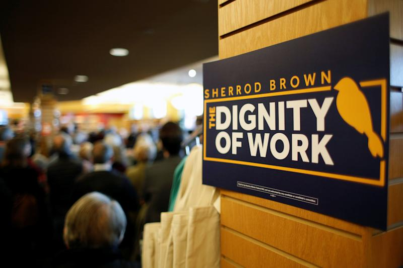 "A sign that reads ""the dignity of work"" is seen during a meet and greet event with potential 2020 Democratic presidential candidate and U.S. Senator Sherrod Brown (D-OH) during his ""Dignity of Work"" tour in Concord, New Hampshire, U.S., February 9, 2019. (Photo: Elizabeth Frantz/Reuters)"