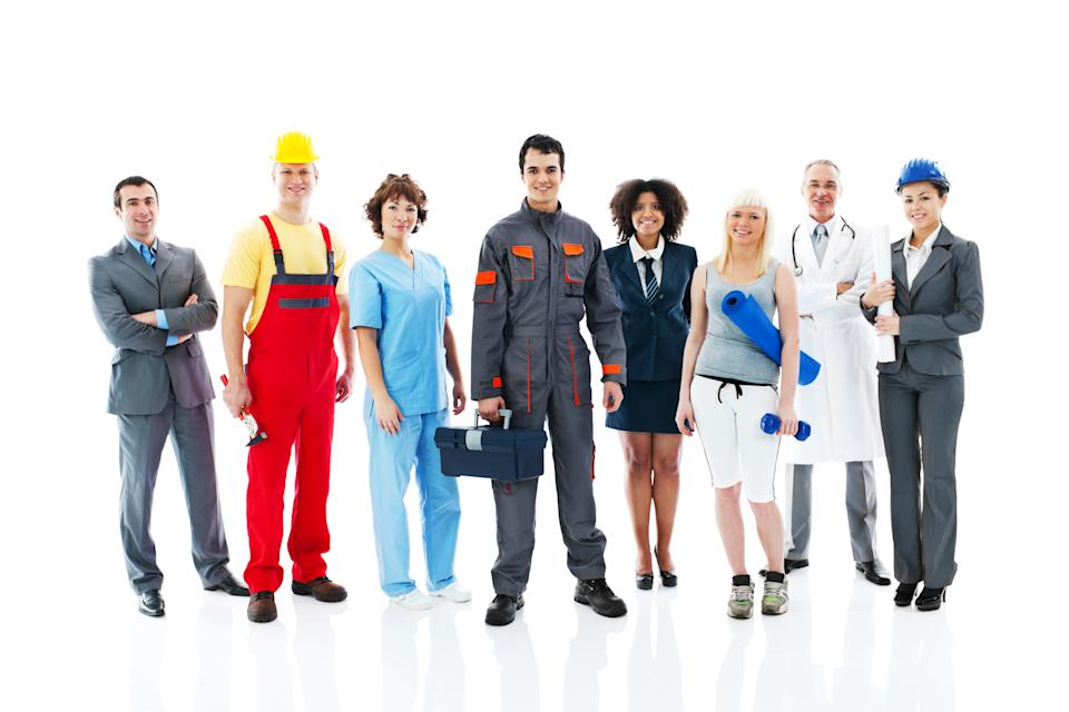 Diversity occupations people standing in line  and looking at the camera.   Isolated on white background.