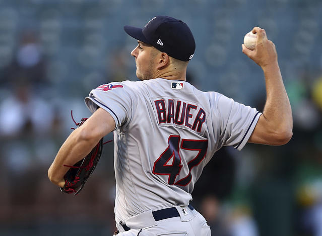 Cleveland Indians pitcher Trevor Bauer works against the Oakland Athletics during the first inning of a baseball game Friday, June 29, 2018, in Oakland, Calif. (AP Photo/Ben Margot)