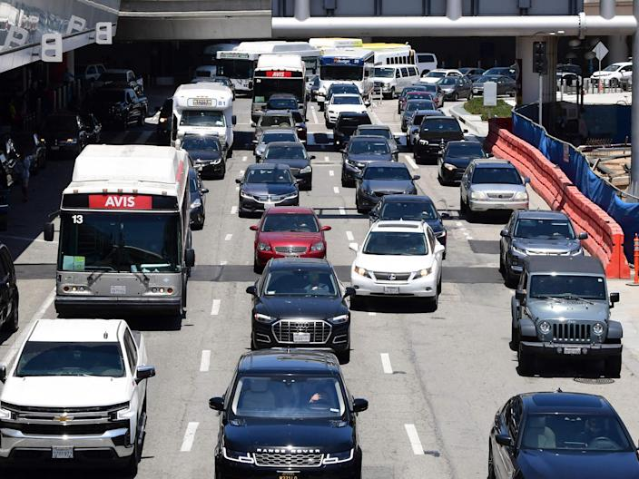 Heavy traffic is seen at Los Angeles International Airport on 27 May 2021 in Los Angeles (AFP via Getty Images)