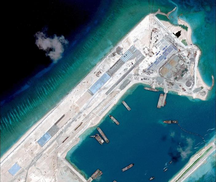 A satellite image of what is claimed to be an airstrip, under-construction at Fiery Cross Reef in the disputed South China Sea (AFP Photo/Digitalglobe)