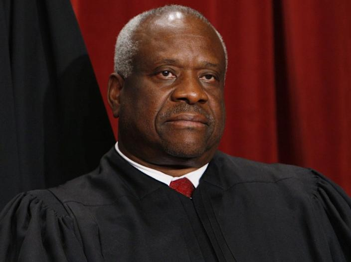 """Supreme Court Justice Clarence Thomas participated actively in oral arguments that were livestreamed in May. <span class=""""copyright"""">(Charles Dharapak / Associated Press)</span>"""