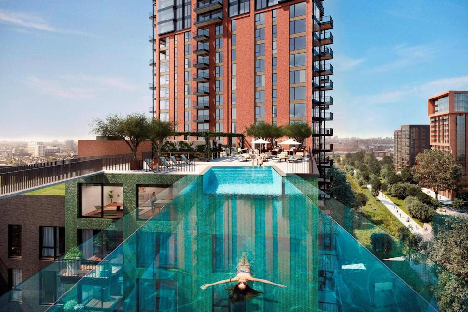 A one-bedroom flat at Embassy Gardens, home to the sky pool which opened last month, is for rent for £550 per week (Handout)