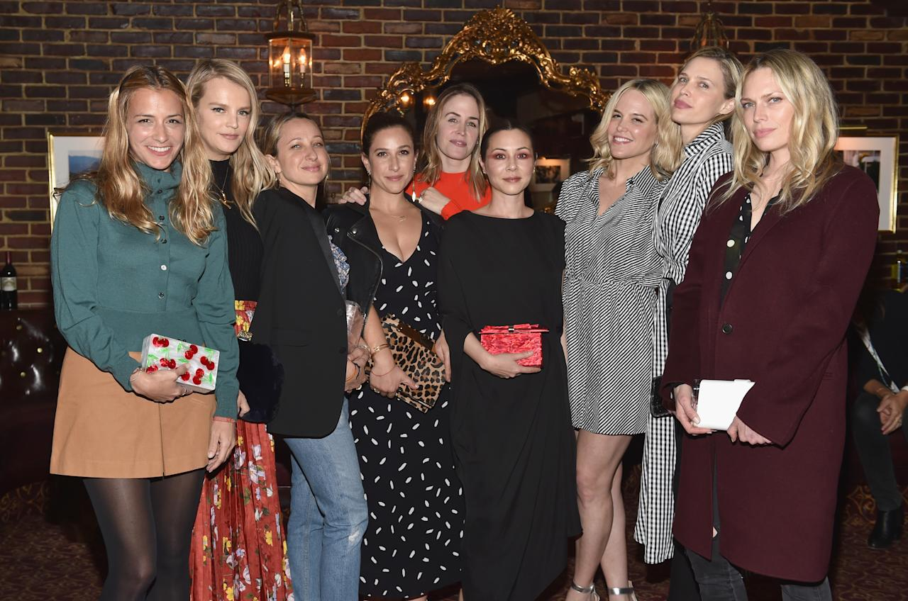 <p>Fashion designer Charlotte Ronson, model Kelly Sawyer, jewelry designer Jennifer Meyer, Sarah Meyer, Edie Parker Creative Director Brett Heyman, actor China Chow, Allison de Neufville, actor Sara Foster and writer Erin Foster attend Edie Parker's LA Dinner Party at La Dolce Vita on February 1, 2018 in Beverly Hills, California. (Photo by Donato Sardella/Getty Images for Edie Parker) </p>