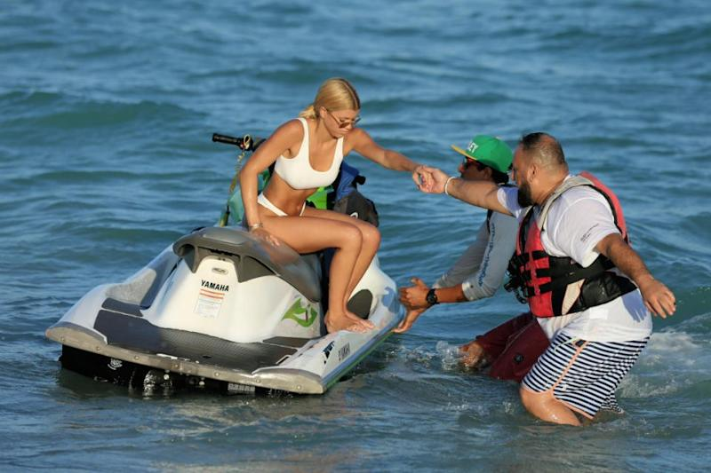 She's got the need for speed: Bikini-clad Sofia shows off her jet-ski skills in Miami, Florida. Source: Splash